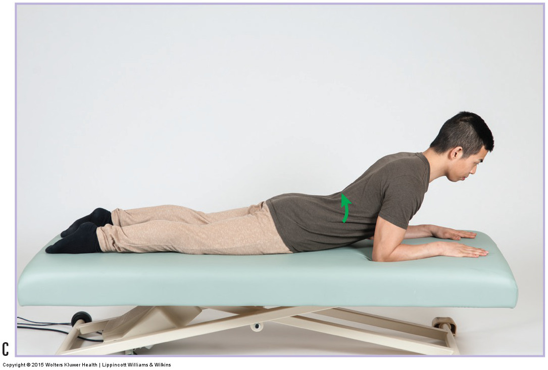 Extension exercise for a pathologic disc. Permission: Joseph E. Muscolino. Manual Therapy for the Low Back and Pelvis (2015).