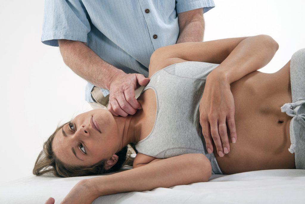 Soft tissue manipulation to the SCM.